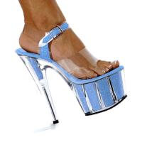 Karo Shoes 0968-7 Clear/Baby Blue Glitter
