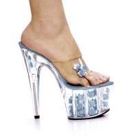 Karo Shoes 0555-7 Clear/Baby Blue Flower