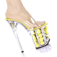 Karo Shoes 0704-F  Clear/Yellow Flowers