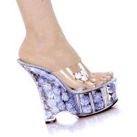 Karo Shoes 0555-Diva Clear/Baby Blue Flowers
