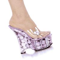 Karo Shoes 0555-Diva  Clear/Baby Pink Flowers SPECIAL
