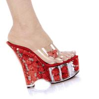 Karo Shoes 0555-Diva Clear/Red Flowers SPECIAL