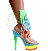 Karo Shoes 3215 6-inch Clear with Multi Leather Fringes