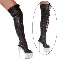 3359 Thigh High Boots - Black Leather on Rhinestones