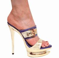 Karo Shoes 3303 - Purple Leather & Gold Leather