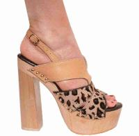 Karo Shoes 3329 - Tan Leather & Leopard Pony