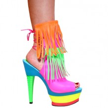 Karo Shoes 3355 - Multi Color - Neon Pink Leather with Lace up Back, Open Toe, Orange and Neon Green Leather Fringes, 6″ Multi Color Julie in Ankle High Boots - Platform