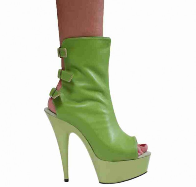 Karo Shoes 3243A.B. - Lime Green Leather - Lime Green Leather in Ankle High Boots - Platform