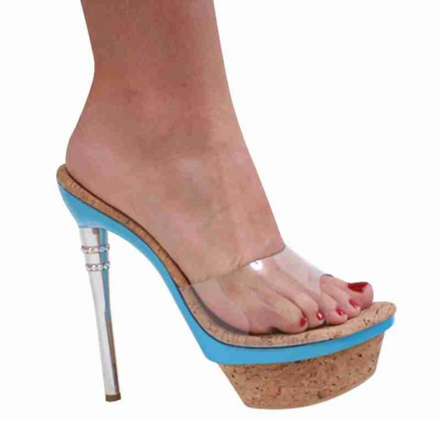 Karo Shoes 3255 - Blue Aba Cork with Swarovski Rhinestones - Blue Aba Cork with Swarovski Rhinestones in Mules & Clogs