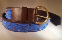 Kenya Belt Brown with Blue Beads and Stones - Size 36