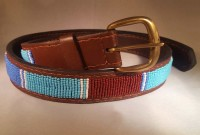 Kenya Belt Brown with Blue and Brown Beads - Size 35