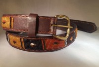 Kenya Belt Brown with Orange Black and Red Beads - Size 35