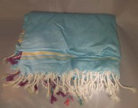 Kenya Kikoy Light Blue with Yellow and White Stripes