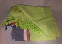 Kenya Kikoy Light Green with Red White Blue and Black Stripes