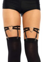 Dual Strap Elastic Garter Suspender With Heart