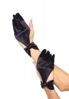 Satin Cut Out Glove With Bow Wrist Detail
