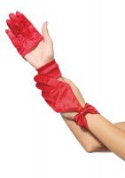 Satin Cut Out Gloves O/s Red O