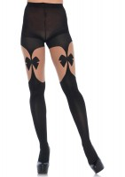 Opaque Illusion Garterbelt Tights With Front And Back Bow