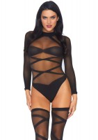2 Piece Opaque Sheer Criss Cross Body Suit And Matching