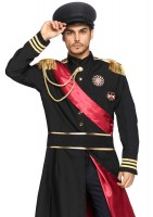 2pc Military General Jacket With Badge Accents And Belt