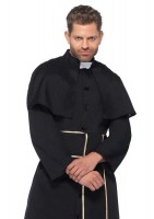 2 Piece Priest Robe With Attached Cape And Cross Belt