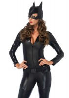 3 Piece Captivating Crime Fighter,quilted Catsuit,utility Belt,mask