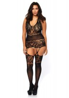 Seamless Floral Lace Opaque Suspender Bodystocking With Shredded Strap Detail