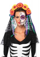Day Of The Dead Flower Headband With Lace Veil
