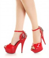 Rock-Studded Cone Heel Peep Toe Stilettos - Red with Rhinestones