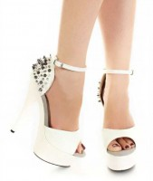 Rock-Studded Cone Heel Peep Toe Stilettos - White with Rhinestones