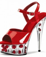 Crystal Toe Flower Base Cone Heel Summer Shoes - Red with Red Flowers