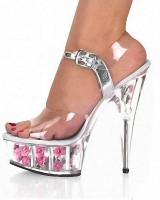 Crystal Toe Flower Base Cone Heel Summer Shoes - Silver with Pink Flowers
