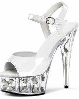 Crystal Toe Flower Base Cone Heel Summer Shoes - White with White Flowers