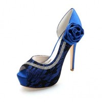 Crystal Sequined Wedding Glitter Jeweled Stilettos - Blue
