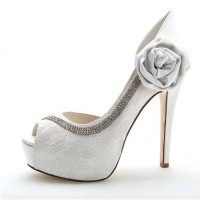 Crystal Sequined Wedding Glitter Jeweled Stilettos - White