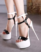 Round Toe Spring and Summer Double-Anklestrap Platform Stilettos - Black and White