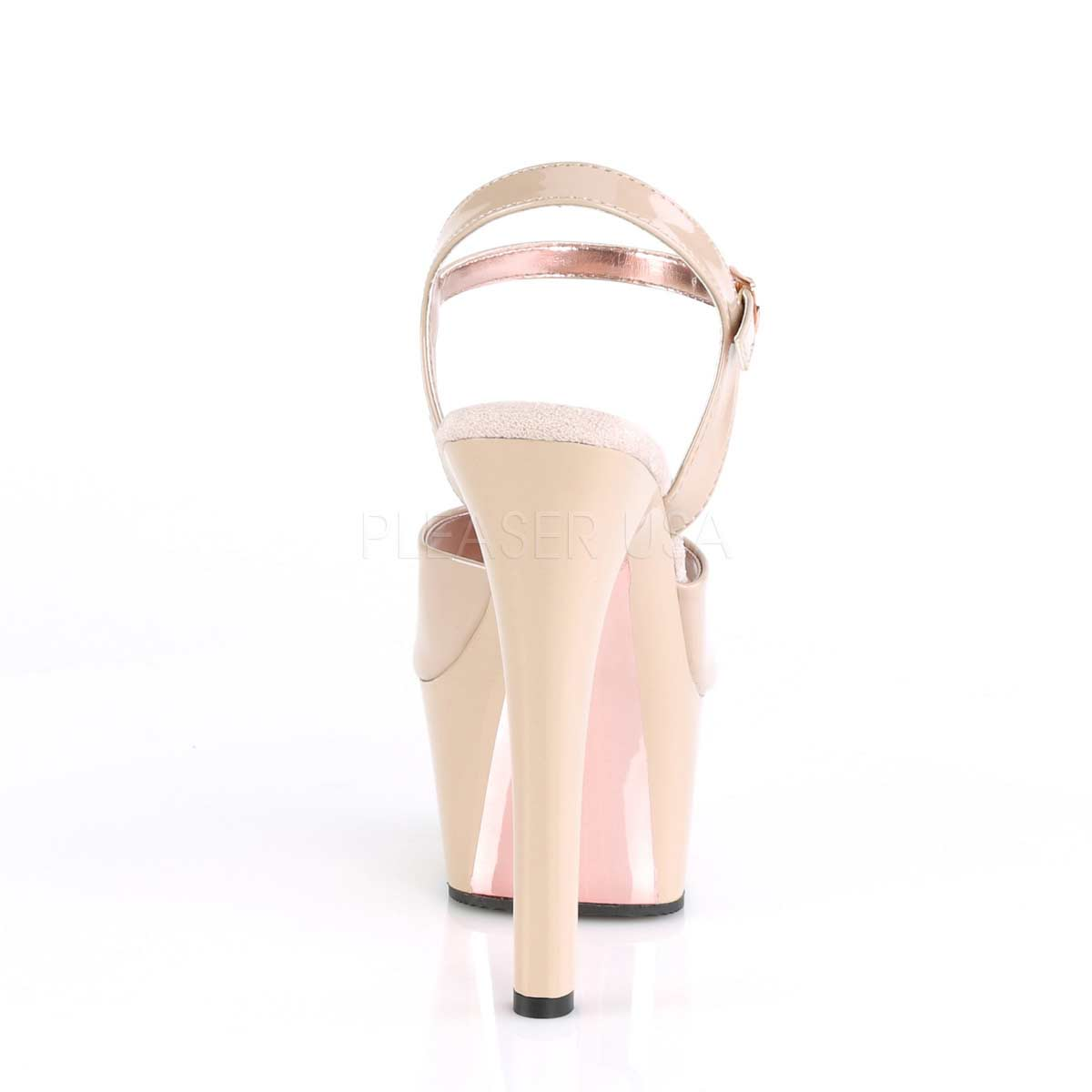 ASPIRE-609TT Nude & Rose Gold Chrome Heels - Tragic Beautiful