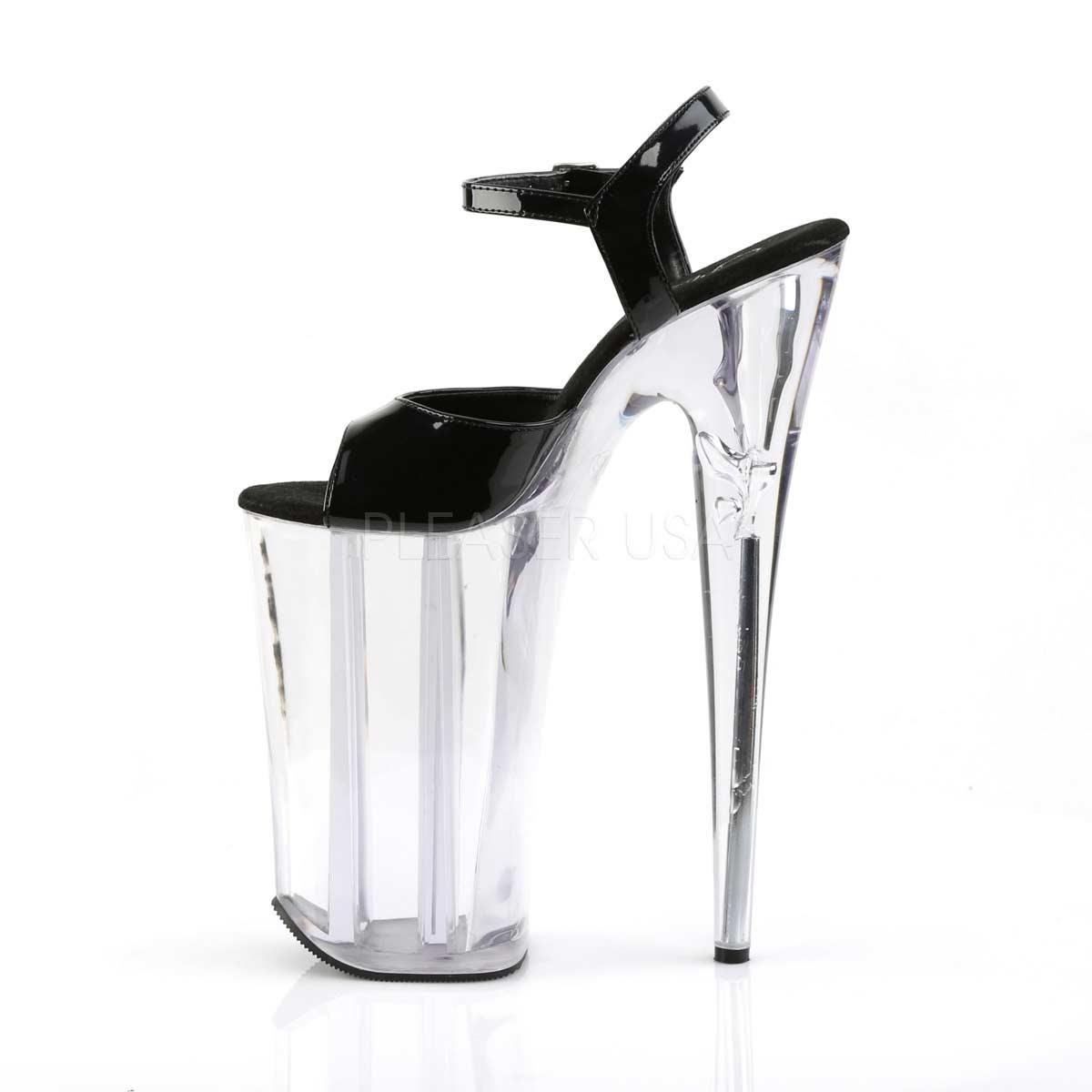 """Pleaser Beyond 009 Black Patent 10/"""" Heel Ankle Strap Extreme Platform Sandal"""
