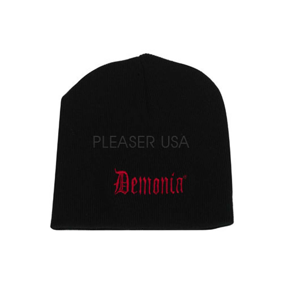 Demonia Dm-1201 Beanie - Black - Pro Rib Black Knit Beanie Without Cuff. Embroidered Demonia Logo In RedFit Guide:  in Parts and Accessories