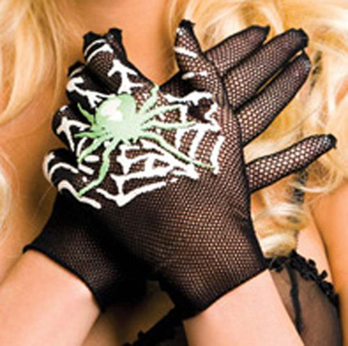 Dm-418 - Black - Fishnet Gloves with SpiderFit Guide:  in Hosiery