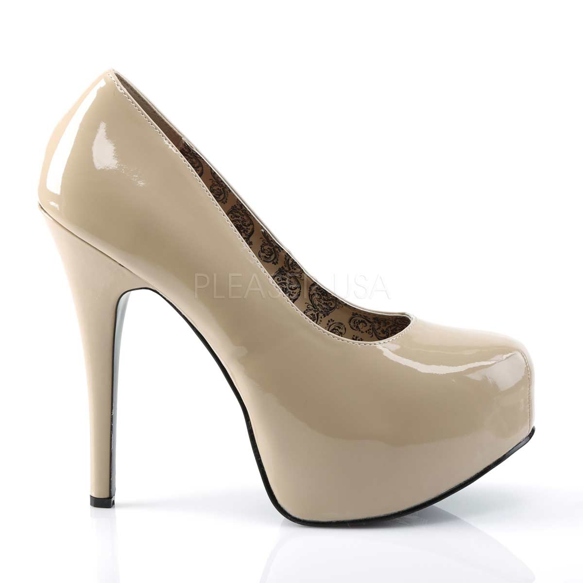 PLEASER PINK LABEL TEEZE-06W CREAM FAUX LEATHER WIDE WIDTH FITTING COURT SHOES