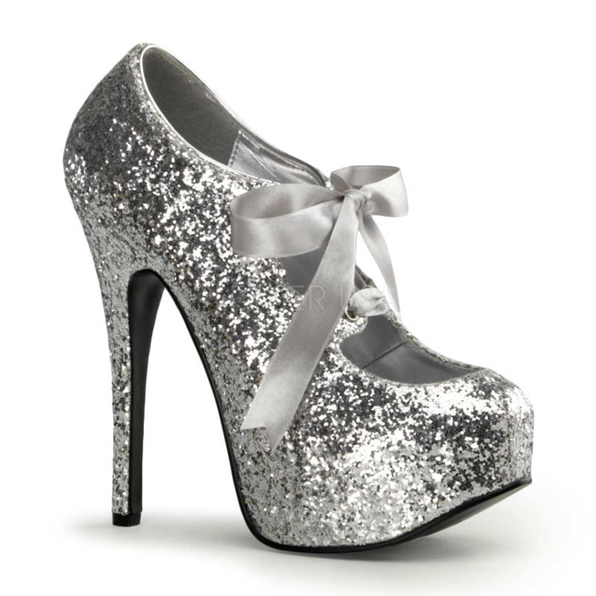 Pleaser Bordello Teeze-10G - Silver Glitter in Heels & Platforms ...