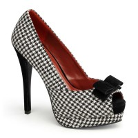 Pinup Couture  Bella-11 - Houndstooth Fabric-Black