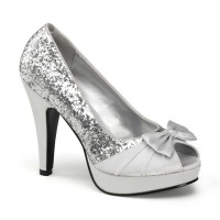 Pinup Couture  Bettie-10 - Silver Glitter-Satin