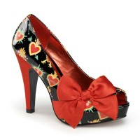 Pinup Couture  Bettie-13 - Black Patent-Red Satin(Sacred Hearts)