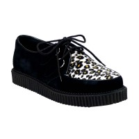 Demonia Creeper-600 - Black Suede-Cheetah Fur