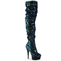 Flamingo-3004 - Green Iridescent Sequins Black