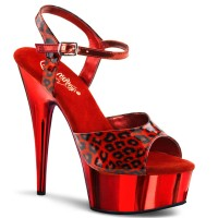 Delight-609Cp - Red Pearlized Cheetah/Red Chrome