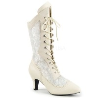 DIVINE-1050 - Ivory Faux Leather Satin Lace