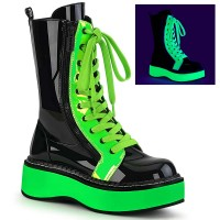 Emily-350 - Black Patent UV Neon Green